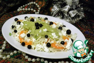 Рецепт: Легкий овощной салат с заправкой из авокадо