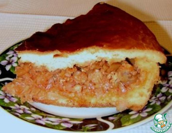 Рецепт: Пирог с рыбой и капустой