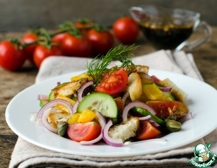 Рецепт: Салат Панцанелла с печёным перцем
