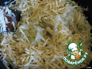 To the onions and cabbage add grated cheese and stir.