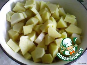 Картофель средними кубиками.