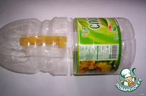 - cut the bottom and top of plastic bottles