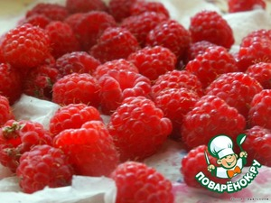 Raspberries wash, to sort, add the syrup to rhubarb, mix gently, remove from heat and allow to cool.