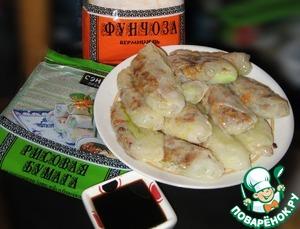 Рецепт Вьетнамские блинчики с мясным фаршем и стеклянной лапшой или Спинг-роллы А-ля Рюс