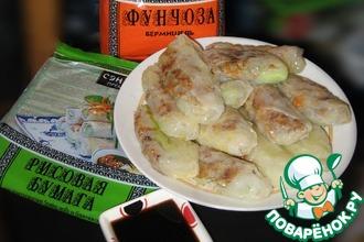Рецепт: Вьетнамские блинчики с мясным фаршем и стеклянной лапшой или Спинг-роллы А-ля Рюс