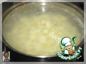 В кипящую, слегка подсоленную, воду кладем картофель, варим до готовности. Так как он порезан мелко, то варится достаточно быстро.