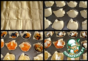 Puff pastry (a rectangle 30 x 40 cm) divide by 12 squares.  Put in molds with a diameter of 7-8 cm (I did not grease),  fill with berries-fruits (I had blueberries, a couple plums, tangerine slices and pineapple),  top each mold add 1/2 tsp of sugar.