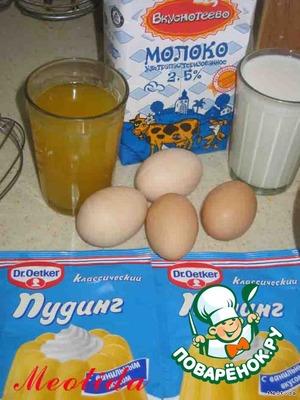 Для крема нам понадобится оставшийся после пропитки коржей сок (у меня остался где-то стакан), молоко (3стакана), яйца (4шт, у меня домашние мелкие, крупных можно взять два), сахар (1 стакан), сливочное масло (50 грамм), сухая смесь для пуддинга (2 пакета, благодаря этой добавке, крем получается нежнее и мягче)