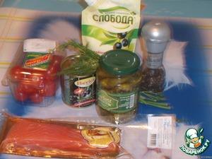 Подготвим ингредиенты.    В этот раз я использовала слабосоленую форель, но прекрасно подойдут и сёмга и кижуч.