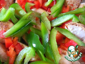 Added to the fillet thinly sliced sweet peppers (red and green);  hot peppers (to taste and optional - for those who loves spicy food),