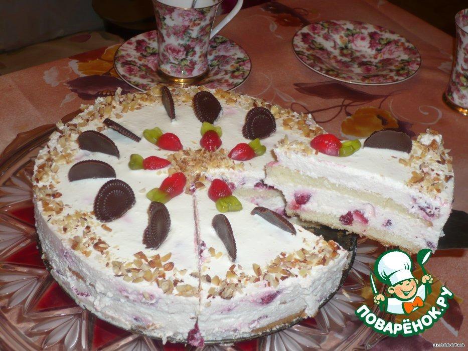 Торт творожный с клубникой  Нежность