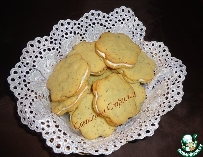 Рецепт: Лимонно-маковое печенье со сливочным сыром