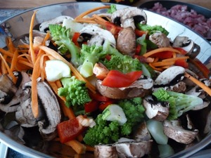 Vegetables are cut and slightly fry.