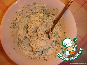 Finely chop the dill and mix it with Philadelphia cheese, optional pepper.