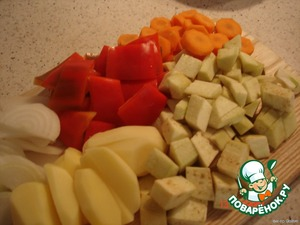 cut the carrot rings,onion rings,bell pepper in small pieces,potato into 4 pieces