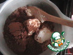 Before preparing the dessert made of chocolate: all the necessary ingredients put in a bowl, stirring constantly brought to simmer to a boil and boil 5 minutes.  Gave the chocolate to cool, so as not to