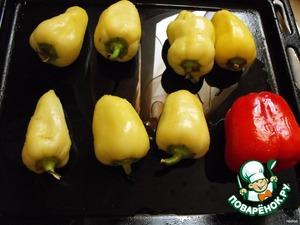 Bulgarian pepper to wash, lay out on a baking sheet, greased with vegetable oil and bake in the oven at 200 degrees for 20-30 minutes.