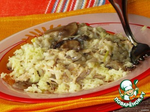 Ризотто с курицей, грибами и луком-пореем – кулинарный рецепт