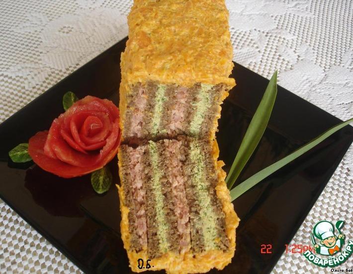 Рецепт: Бутербродный торт Полосатик