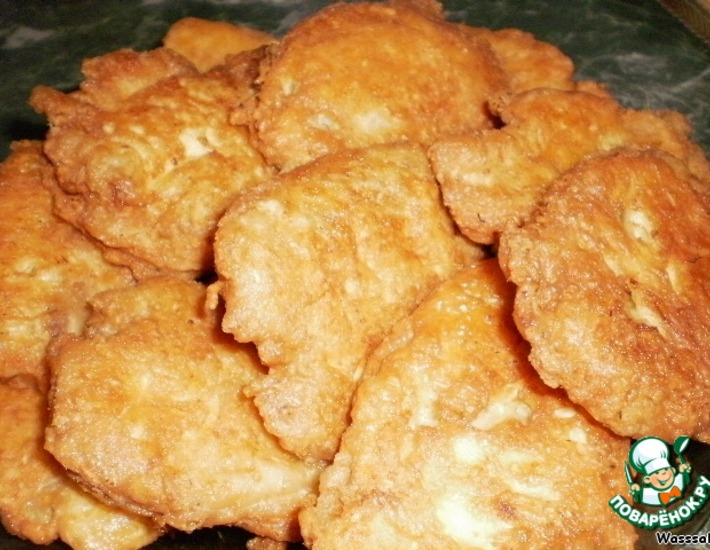 Рецепт: Отбивные из рыбы Сырные облачка