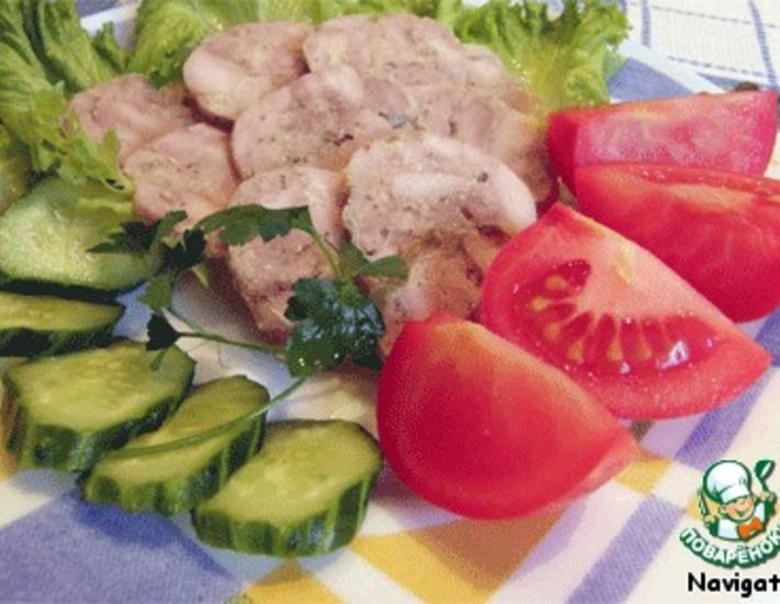Рецепт: Колбаса куриная домашняя быстрого приготовления