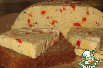 Рецепт: Домашний твердый сыр с перчиком и укропом