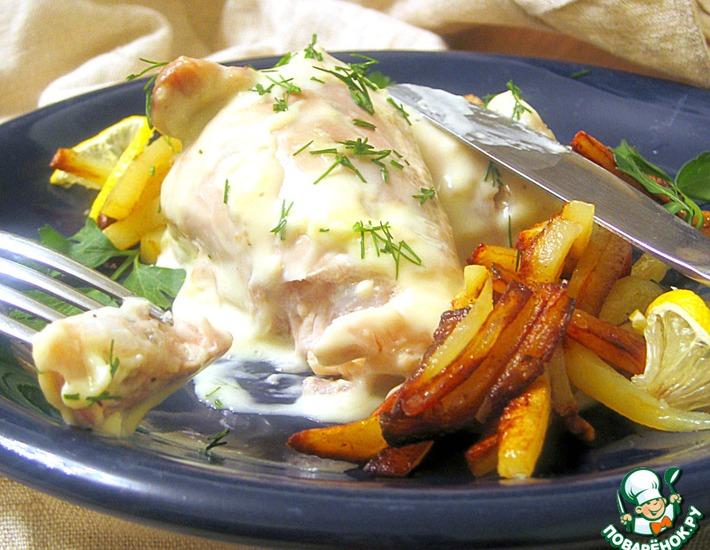 Рецепт: Курица в сырном соусе Птичье молочко