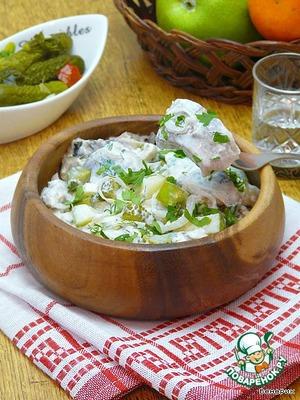 Appetizer of herring fillets at home
