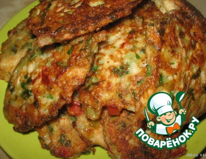 Рецепт: Куриные оладьи с овощами