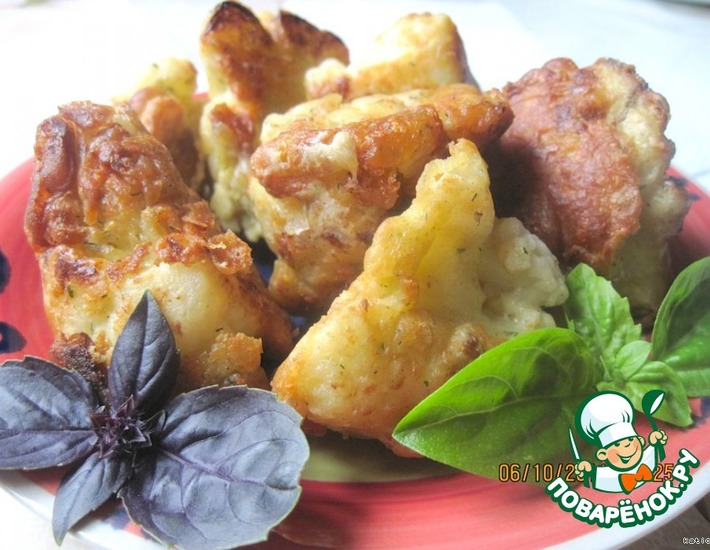 Рецепт: Цветная капуста в сырно-горчичном кляре