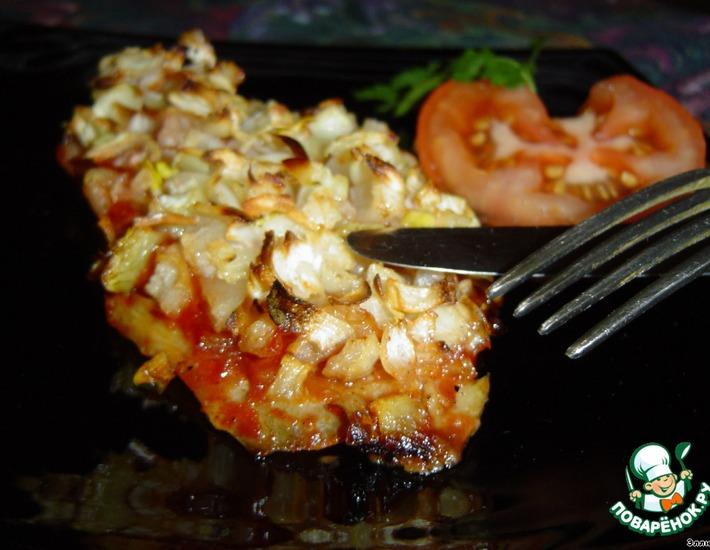 Рецепт: Рыба, запеченная с чесноком и луком