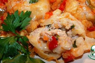 Рецепт: Ленивые пельмени в овощном соусе