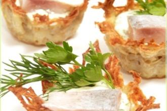 Рецепт: Ажурные картофельные тарталетки