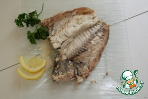"""Spread on a plate, carefully open the """"cover"""" and decorate with lemon. The funky smell, the taste delicate. A single gram of fat or oil, a pleasure. Salt the fish took as the norm, and once turned into armor)"""