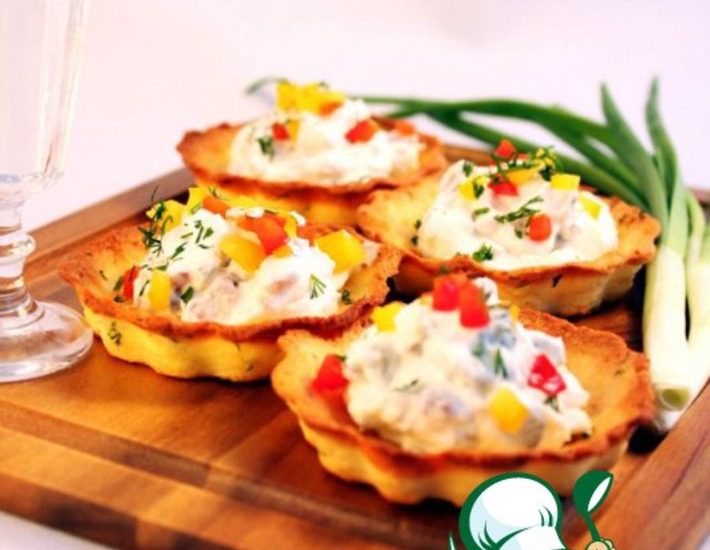 Рецепт: Тарталетки Картошка-селедка-огурчик