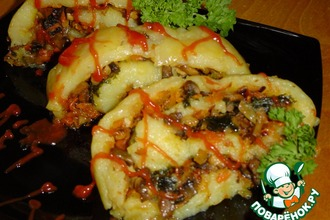 Рецепт: Постный картофельный рулет с грибами и овощами