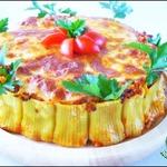 Каннеллони с фаршем, томатами и моцареллой