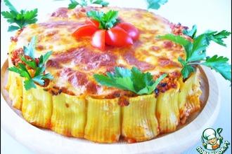Рецепт: Каннеллони с фаршем, томатами и моцареллой