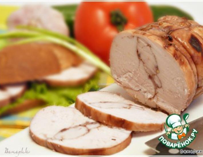 Рецепт: Пастрома из куриной грудки в винном маринаде
