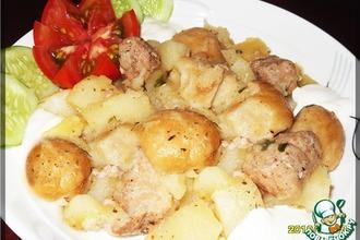 Рецепт: Тушеный картофель с нудлями по-украински