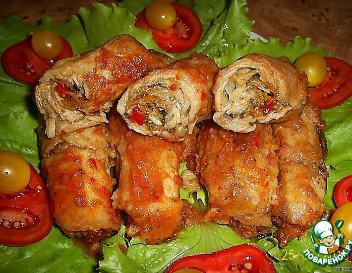 Рецепт: Мясные пальчики с овощной начинкой