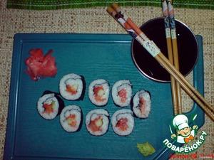 И у нас получатся вот такие красивые суши.