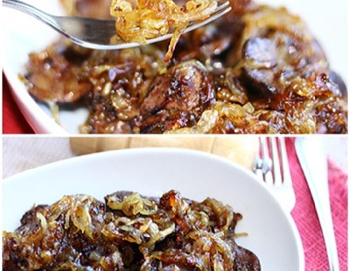 Рецепт: Куриная печень с медовым луком
