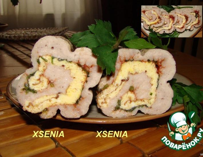 Рецепт: Мясной рулет Цветы для любимых мясоедов