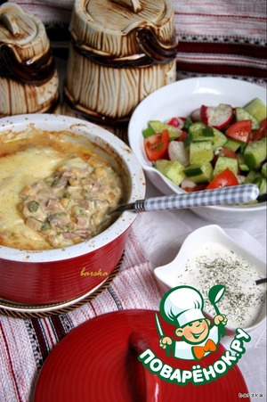 Pea gratin with mushrooms and ham