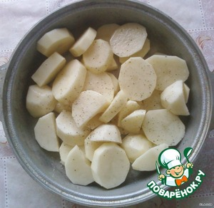 Potatoes clean, cut into slices not thin  Salt and pepper to taste  Fold in a bowl with thick walls