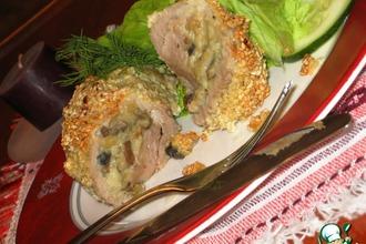 Рецепт: Свиные рулетики с картофелем и грибами