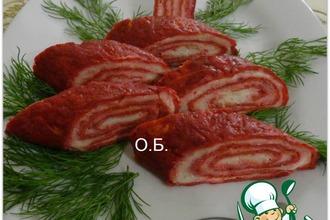 Рецепт: Закуска Розовый рулет