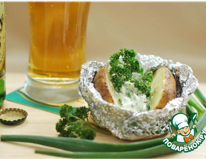 Рецепт: Запечeнный картофель с сырной начинкой Девичьи посиделки