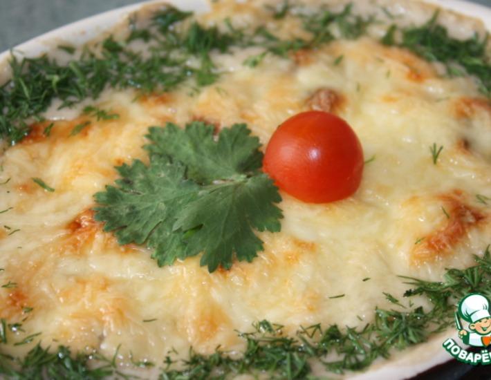Рецепт: Баклажаны с грибами в сливочно-сырном соусе